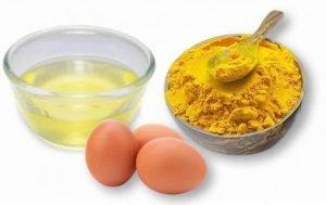 mặt nạ tinh bột nghệ và trứng gà